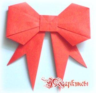 Как сделать подарочный бантик из бумаги
