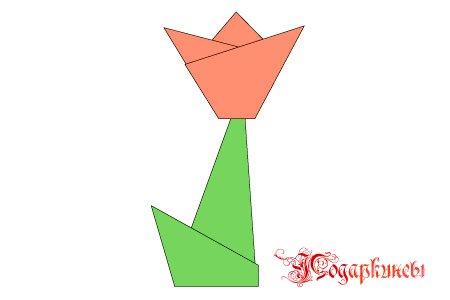 готовый тюльпан оригами со стебельком
