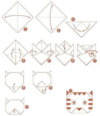 схема бумажного котенка