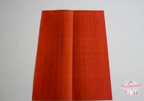 Нужно взять лист бумаги обычной альбомной величины, перегнуть пополам по длине и расправить.